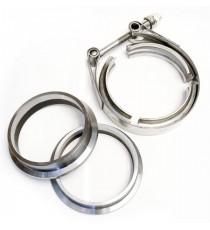 "Kit 2 brides aciers V-band 2,5"" pour tube 60,3mm + 1 collier inox V-band 2,5"""
