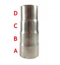 Réducteur femelle inox pour tube à emmancher 101.6, 88.9, 80, 76.1mm